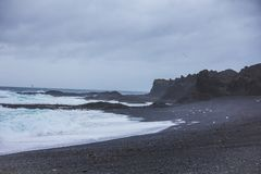 Djupalonssandur黑色沙子海滩在冰岛 库存图片