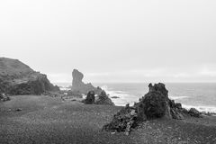 Djupalonssandur plaża w Snaefellsjokull Obrazy Royalty Free