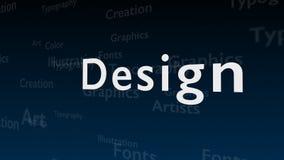 Djupblå bakgrund med olika ord, som handlar med affär close upp kopiera avstånd 3d royaltyfri illustrationer