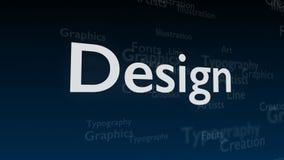 Djupblå bakgrund med olika ord, som handlar med design close upp kopiera avstånd 3d vektor illustrationer