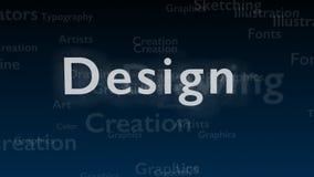 Djupblå bakgrund med olika ord, som handlar med design close upp kopiera avstånd 3d stock illustrationer