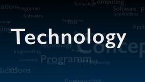 Djupblå bakgrund med olika ord, som handlar med teknologi close upp kopiera avstånd 3d stock illustrationer