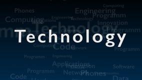 Djupblå bakgrund med olika ord, som handlar med teknologi close upp kopiera avstånd 3d vektor illustrationer