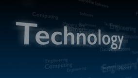 Djupblå bakgrund med olika ord, som handlar med teknologi close upp kopiera avstånd 3d royaltyfri illustrationer