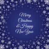 Djupblå ram för snöflingor för nytt år för jul Arkivbild