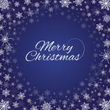 Djupblå snöflingaram för glad jul Royaltyfria Foton