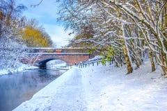Djupfryst Birmingham kanal och tegelstenbro Royaltyfria Bilder