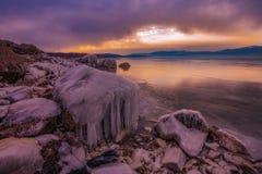Djupfryst Busko sjö arkivfoton