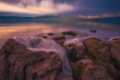 Djupfryst Busko sjö Arkivbilder
