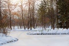 Djupfryst damm i snöfall, Catherine Park, Pushkin Royaltyfri Foto
