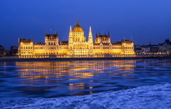 Djupfryst Donau Arkivfoton