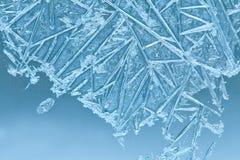 djupfryst exponeringsglas blommar is sikt av det snö täckte landskapet djupfryst fönster Craquelure (Makro slapp fokus Tonat foto Arkivbild