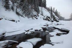 Djupfryst flod i de Altai bergen Royaltyfria Bilder