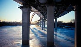 Djupfryst flod i Moskva Royaltyfri Fotografi