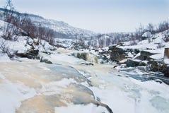 Djupfryst flod i tundra royaltyfri fotografi