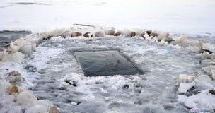 Djupfryst flod med is-hålet Royaltyfri Bild