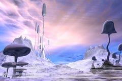 Djupfryst främmande landskap med dramatisk himmel Arkivfoto