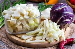 djupfryst grönsaker Djupfryst kålrabbi Arkivfoton