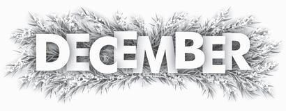 Djupfryst gran fattar December royaltyfri illustrationer