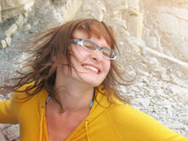 Djupfryst hårkvinna i dans Royaltyfri Foto