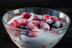 Djupfryst hallon och blåbär med glass i en glass bunke Royaltyfri Foto