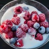 Djupfryst hallon och blåbär med glass i en glass bunke Royaltyfria Foton