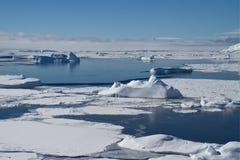 Djupfryst hav och isberg nära den antarktiska halvön, en vinter Arkivfoton