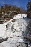 Djupfryst Hector Falls sidosikt av nedgångar arkivfoton