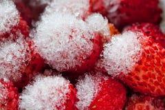 djupfryst jordgubbar Närbild Arkivbild