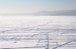 djupfryst lake Royaltyfri Fotografi