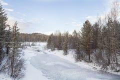 Djupfryst Lake i Inari, Finland Royaltyfri Bild