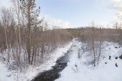Djupfryst Lake i Inari, Finland Arkivfoton