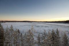 Djupfryst Lake i Inari, Finland Fotografering för Bildbyråer