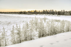 Djupfryst Lake Inari, Inari, Finland Arkivfoto