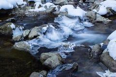 Djupfryst landskap för vinterflodflöde Arkivfoton