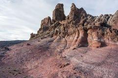 Djupfryst lava på foten av vulkan Teide fotografering för bildbyråer