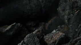 Djupfryst lavaflöde resultera från utbrottlägenheten Tolbachik i längd i fot räknatvideo för 2012 materiel arkivfilmer