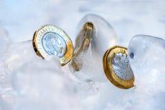 Djupfryst ny britt ett pundmynt upp nära makro inom iskuber Arkivbilder