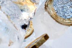 Djupfryst ny britt ett pundmynt upp nära makro inom iskuber Royaltyfria Foton