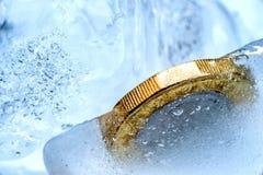 Djupfryst ny britt ett pundmynt upp nära makro inom iskuber Royaltyfria Bilder