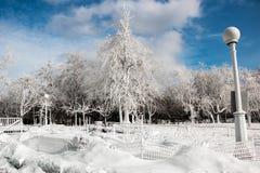 Djupfryst is och snö täckt landskap Royaltyfri Foto
