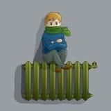 Djupfryst pojke på ett gammalt element royaltyfri illustrationer