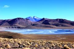 Djupfryst sjö Bolivia Arkivbild