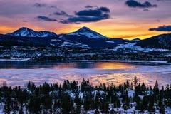 Djupfryst sjö Breckenridge, Colorado royaltyfria foton