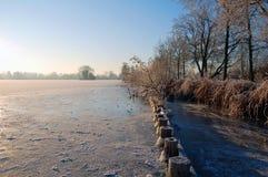 Djupfryst sjö med öar i holland Arkivfoto