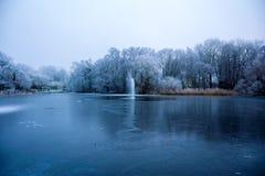 Djupfryst sjö med springbrunnen fotografering för bildbyråer