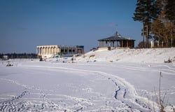 Djupfryst sjö och strand royaltyfria bilder