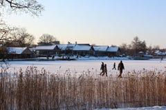 Djupfryst sjö vid den Trakai öslotten royaltyfri foto