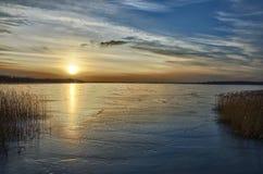 Djupfryst sjö Fotografering för Bildbyråer