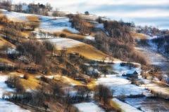 Djupfryst solig dag av en vinter, på lösa transylvania kullar Arkivbilder